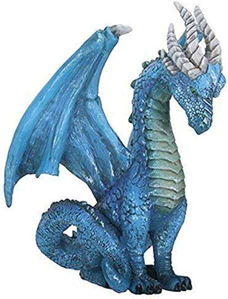 Ky Co YK 7 Inch Blue Guardian Dragon Colorful Decoration Statue Figurine