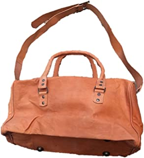 Handmade Distressed Leather Small Duffel (Small, Burnt Orange)