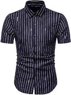 Macondoo Men Short Sleeve Summer Striped Casual Floral Printed Baggy Button Down Shirts
