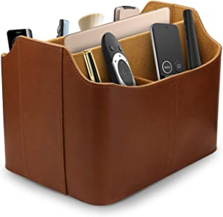 OTTO Leather Remote Control Organizer and Caddy with Tablet Slot