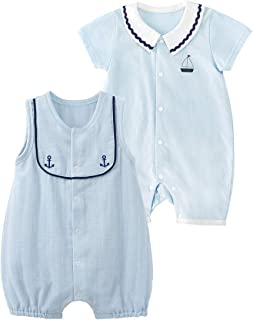 pureborn 2 Pack Baby Short Sleeve Bodysuit+Romper Outfits Cute Cartoon Bees 0-24 Months