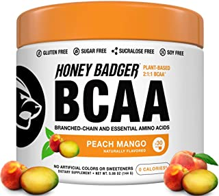 Honey Badger Vegan Keto BCAA - EAA Electrolyte Powder | Peach Mango | Natural Gluten Free Amino Acids Essential Aminos Sugar Free + Sucralose Free | 30 Servings