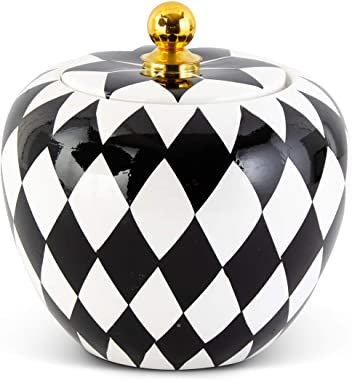 K&K Interiors 15022B-2 7.75 Inch Black and White Harlequin Lidded Container