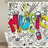 SLN Haus Dekoration. Cartoon-Muster. Farbige Buchstaben. Duschvorhang: 180X180 cm. 12 C-Förmige Haken. 3D Hd Druck. Wasserdicht. Nicht Verblassen.
