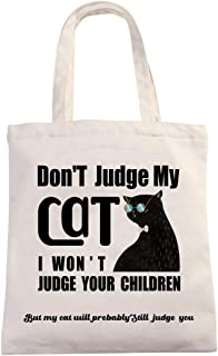 Chillake Funny Cat Natural Cotton Canvas 12 Oz Reusable Hand Made Tote Bag - Don't Judge My Cat Tote Bag Gifts for Cat Lov...