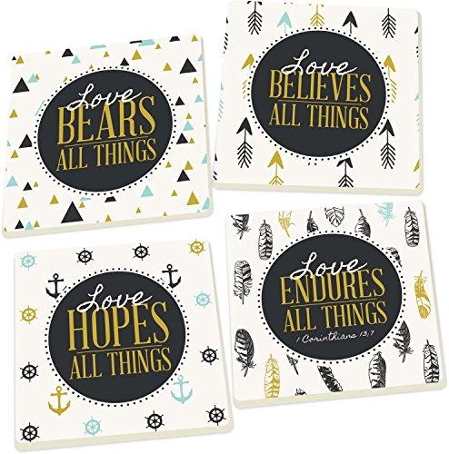 Love Bears, Believes, Hopes, Endures All Things, Scripture 4 Piece Square Ceramic Coaster Set