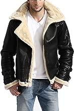 Men's B3 White Fur Stylish Black Aviator Flight Pilot Removable Hood Genuine Leather Bomber Jacket