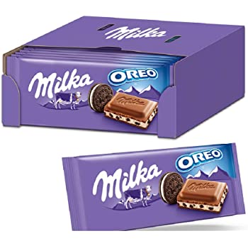 Milka & OREO Schokoladentafel 22 x 100g, Zarte Milka Alpenmilch Schokolade mit knusprigen original OREO-Keksstückchen