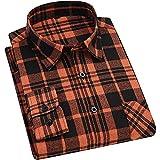 Camisas Manga Larga Hombre,Camisa De Manga Larga A Cuadros para Hombre, Clásica, Negra, Naranja, A Cuadros, De Algodón, Cálidas Camisas Casuales con Bolsillo, Botones, Padr