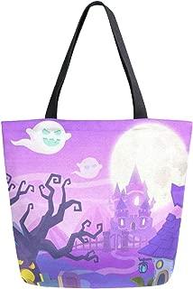 Reusable Grocery Shopping Bag Happy Halloween Pumpkin Womens Canvas Tote Bags Foldable Shoulder Handbags