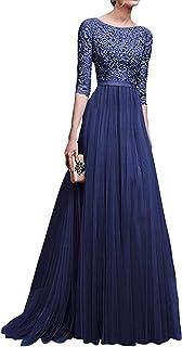 80c4e0c2ea1c Minetom Donna Vestito Lungo Abito Da Cerimonia Elegante Vestiti Da  Matrimonio Lunghi Formale Banchetto Sera Maxi