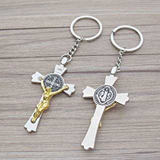 12 PCS St Benedict Keychain Baptism Favor First Communion Religious Catholic Memorial Gift Favor Two Tone Crucifix Silver Gold Accent Cross Gift Bag