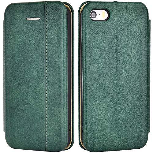 Leaum Schutzhülle für Apple iPhone SE Hülle, iPhone 5S Hülle, iPhone 5 Hülle, Premium Leder Flip Hülle Handyhülle für iPhone SE/5S/5 Handytasche, Grün