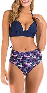 E-girl Bikini de cintura alta para mujer, de dos piezas, de secado rápido, S130