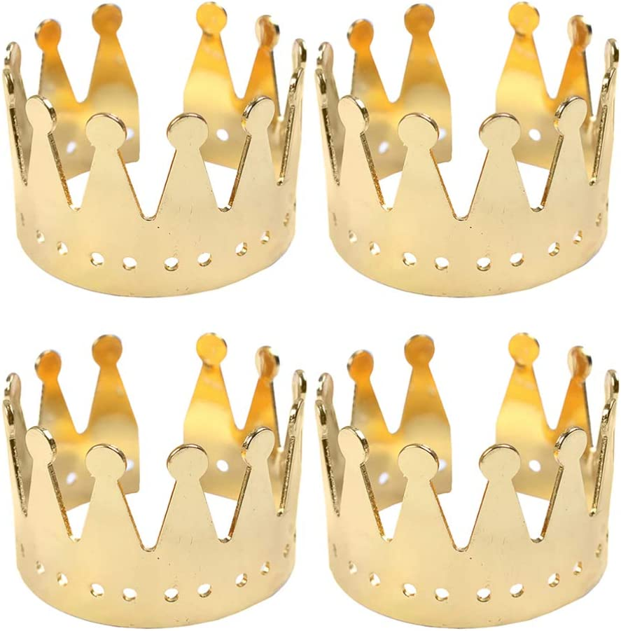 Amosfun 4pcs Metal Crown Today's only Rings Serviette 35% OFF Birthday Napkin