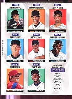 Milk Mustache Baseball Card Complete Set Uncut Sheet Alex Rodriguez Andy Pettitte Nomar Garciaparra Vladimir Guerrero Scott Rolen Darin Erstad
