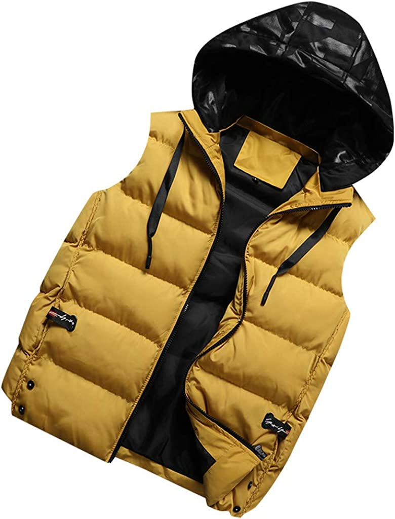 Mens Full Zip Vest Hoodie Warm Sleeveless Quilted Jacket Winter Vest for Men (2XL,Yellow)