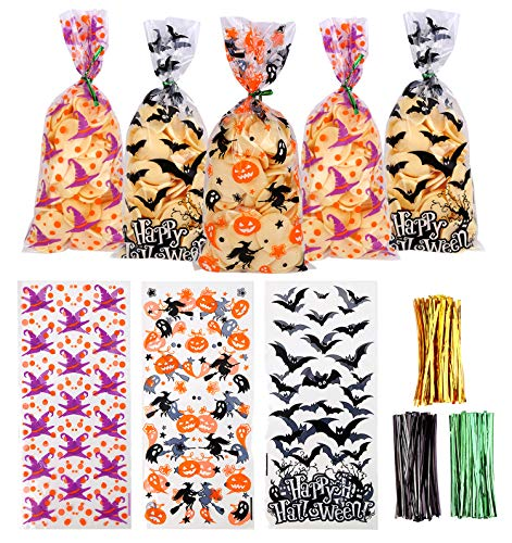 VEYLIN 150 Pieces Halloween Cellophane Bags Candy Bags with 300 Twist Ties for Halloween Party Supply