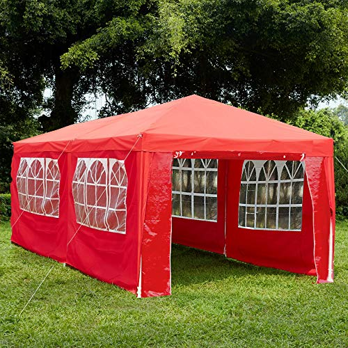 Garden Vida Gazebo with Side Panels 3x6m Marquee Zip Up Party Tent Outdoor Garden Canopy Waterproof with Wind Bars, Red