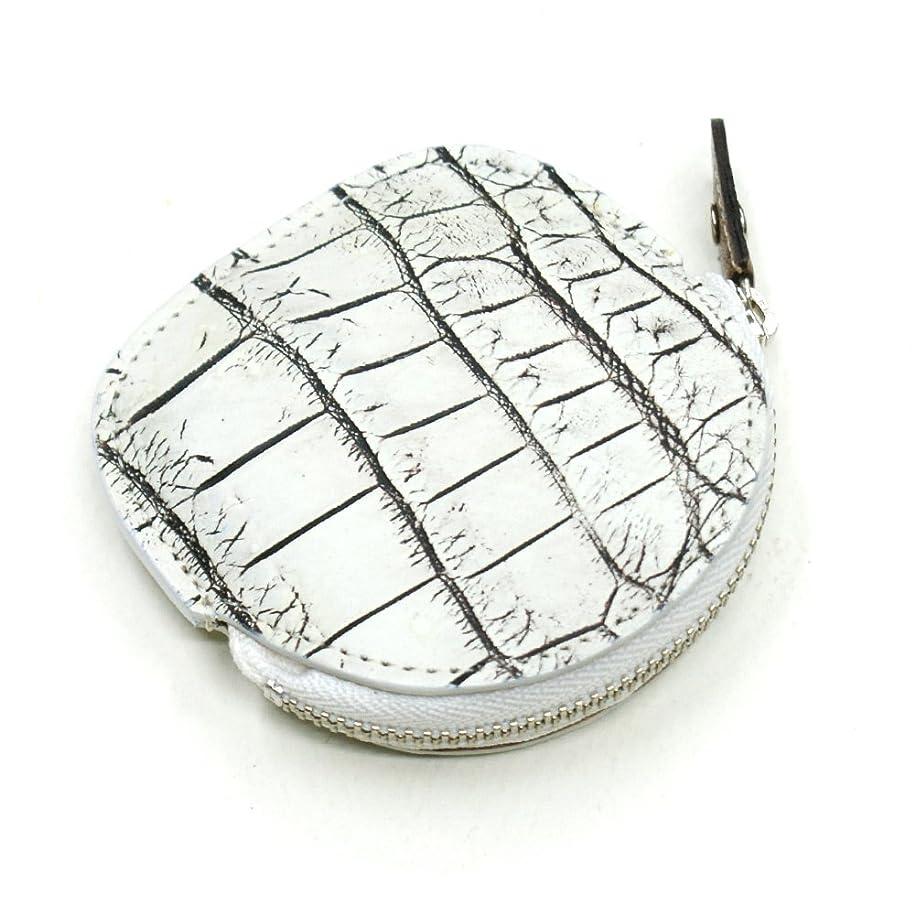 居間概念予見するCRM1262-WHITE クロコダイルレザー丸型ファスナー小銭入れ(小):ホワイト