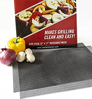 BBQ Grill Mats Non Stick Extra Large BBQ Mat Replaces Vegetable & Fish Grill Basket, Pizza Screen   Heavy Duty PFOA Free N...