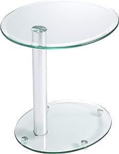 RFIVER Table Basse de Salon Verre Trempé à 2 Etagères au Coins ET3001