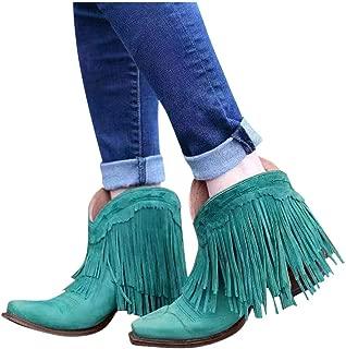 JoCome Women's Tassel Ankle Booties | Winter Suede Fringed Boots | Fashion Round-Toe Low Wedge Heel Booties | Tassels Dressy Short Boots Blue