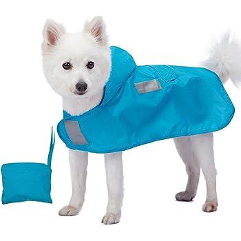 Blueberry Pet Leichter Verstaubarer Kapuzen-Hunde-Regenmantel Poncho mit 3M Reflektor-Sicherheitsstreifen
