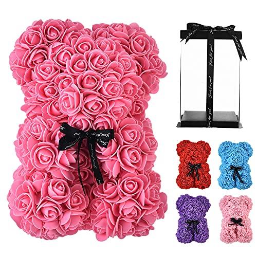 Rose Flower Bear -10 pulgadas de alto contenido de 250 flores Rose Oso de peluche - Aniversario, Cumpleaños, Duchas nupciales, Día de San Valentín, Madres - Caja de regalo clara incluida flor artifici