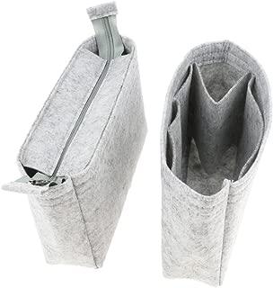 FITYLE 2Pieces Felt Zipper Women Organizer Handbag Travel Bag Insert Liner Purse Large Tidy Makeup Pouch