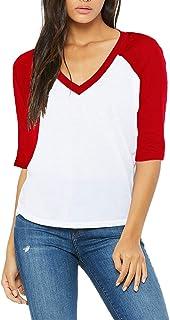 Funky Junque Womens Top Baseball T-Shirt 3/4 Sleeve Raglan Vintage V-Neck Tee