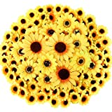 CEWOR 250pcs Artificial Silk Sunflower Heads 1.8'' 3'' 3.9'' Fake Faux Flower Heads Yellow Floral for Wedding Centerpieces Decor Home Decoration Garden Wreath Art Craft (Multi Size)