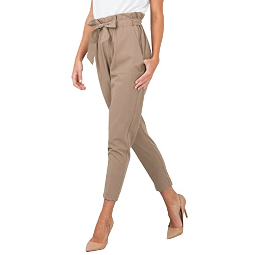 07b7f2e935d BerryGo Women s Casual Loose High Waist Stretchy Skinny Slim Long Pants