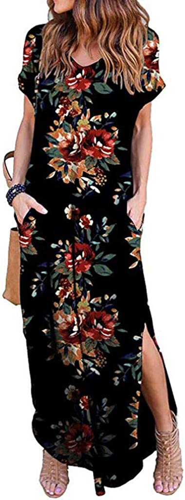 Forthery Women's Summer Short Sleeve Racerback Loose Plain Maxi Dress Floral Print Casual Long Dresses with Pockets