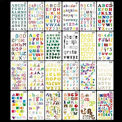 Ritapreaty 24PCS DIY Engels Alfabet Sjabloon, DIY Tekenen Sjabloon Pecfect voor Notebook/Dagboek/Scrapbook/Journaling/Card