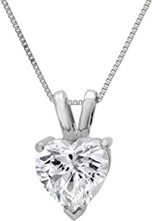 """2.05 ct Brilliant Heart Cut Highest Quality Moissanite Solitaire Pendant Necklace With 16"""" Gold Chain box Solid 14k White Gold, Clara Pucci"""