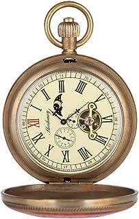 LYMUP Reloj de Bolsillo, Cobre Puro Cubierta roja y Azul Retro Gran tourbillon mecánico Moda Retro Mano Reloj Doble Reloj,...