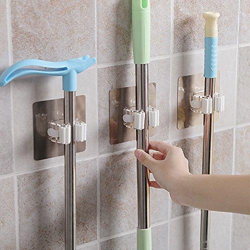 Besen Unterstützung Wand Tools mit Haken Unterstützung Gewicht bis zu 10–15kg Organizer mit Clip Spring Organisieren Ihre DIY Reinigung Gartengeräte