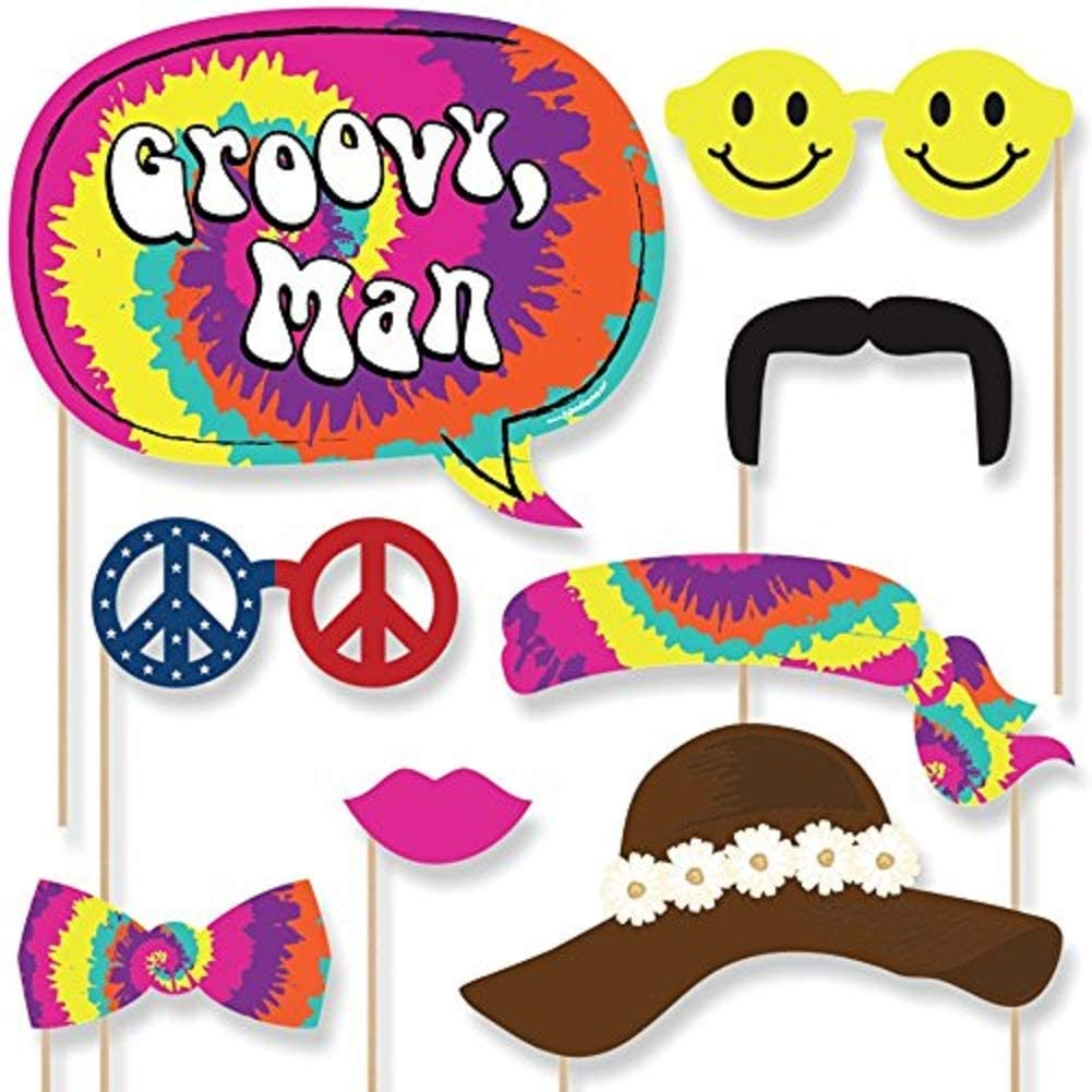 Amazon Com Big Dot Of Happiness 60 S Hippie 1960s Groovy Party Photo Booth Props Kit 20 Count Home Kitchen