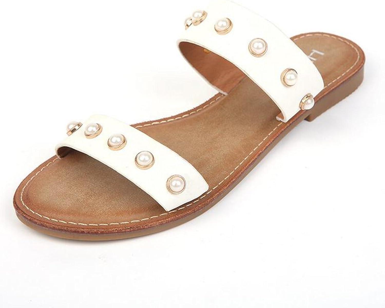 Kvinnliga skor, vårskor, platt glidare glidare glidare Pearl mode Bekväma sandaler med platt mun  olika storlekar