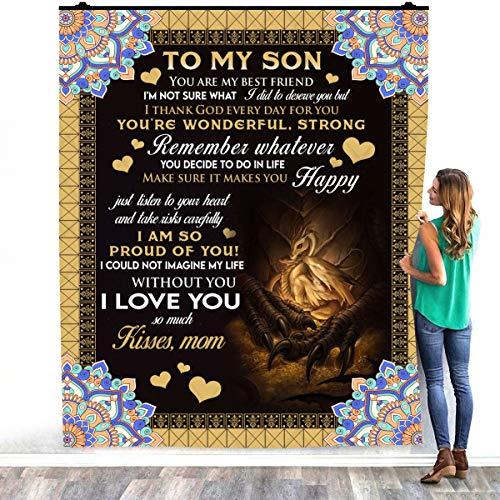 TeeShiny To My Son From Mom Dragon - You Are My Best Friend - Manta de forro polar para decoración de dormitorios (127 x 152 cm)
