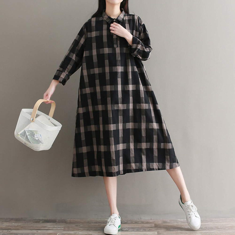 Cxlyq Dresses Large Size Loose Plaid Shirt Skirt Long Sleeve Medium Length Cotton and Linen Dress Female