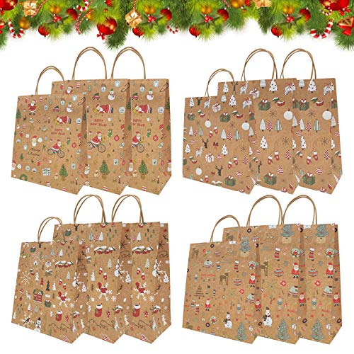 Shengruili 12Pcs Kraft Regalo Sacchetti di Natale,Natale Sacchetti di Carta,Sacchetti Natalizi,Borse Carta,Natale Sacchetti di Carta Kraft Sacchetti Regalo,Buste Regalo (F)