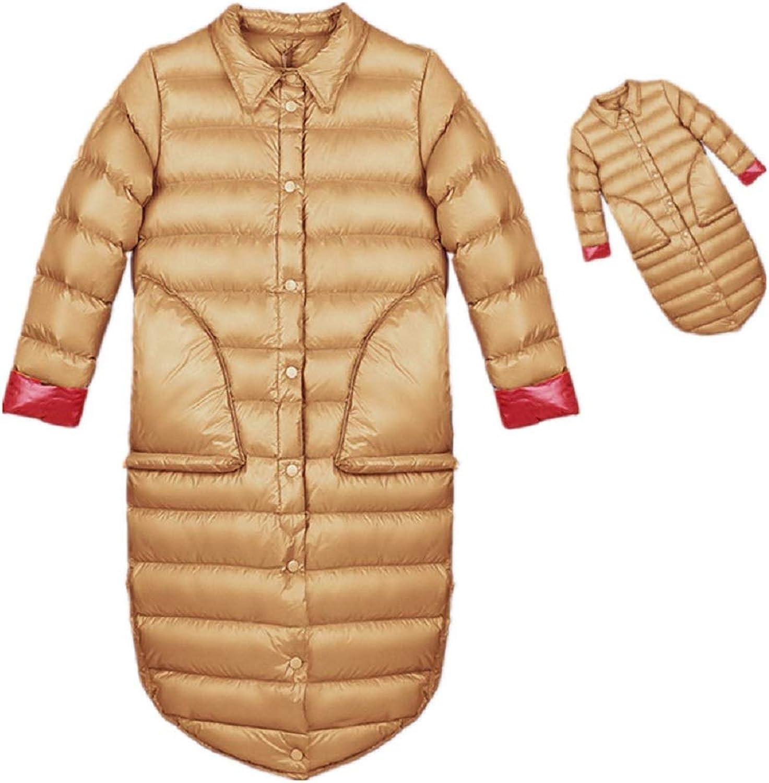 Aehoor Womens Winter Version Long Section 90% Duck Down Jacket Slim Warm