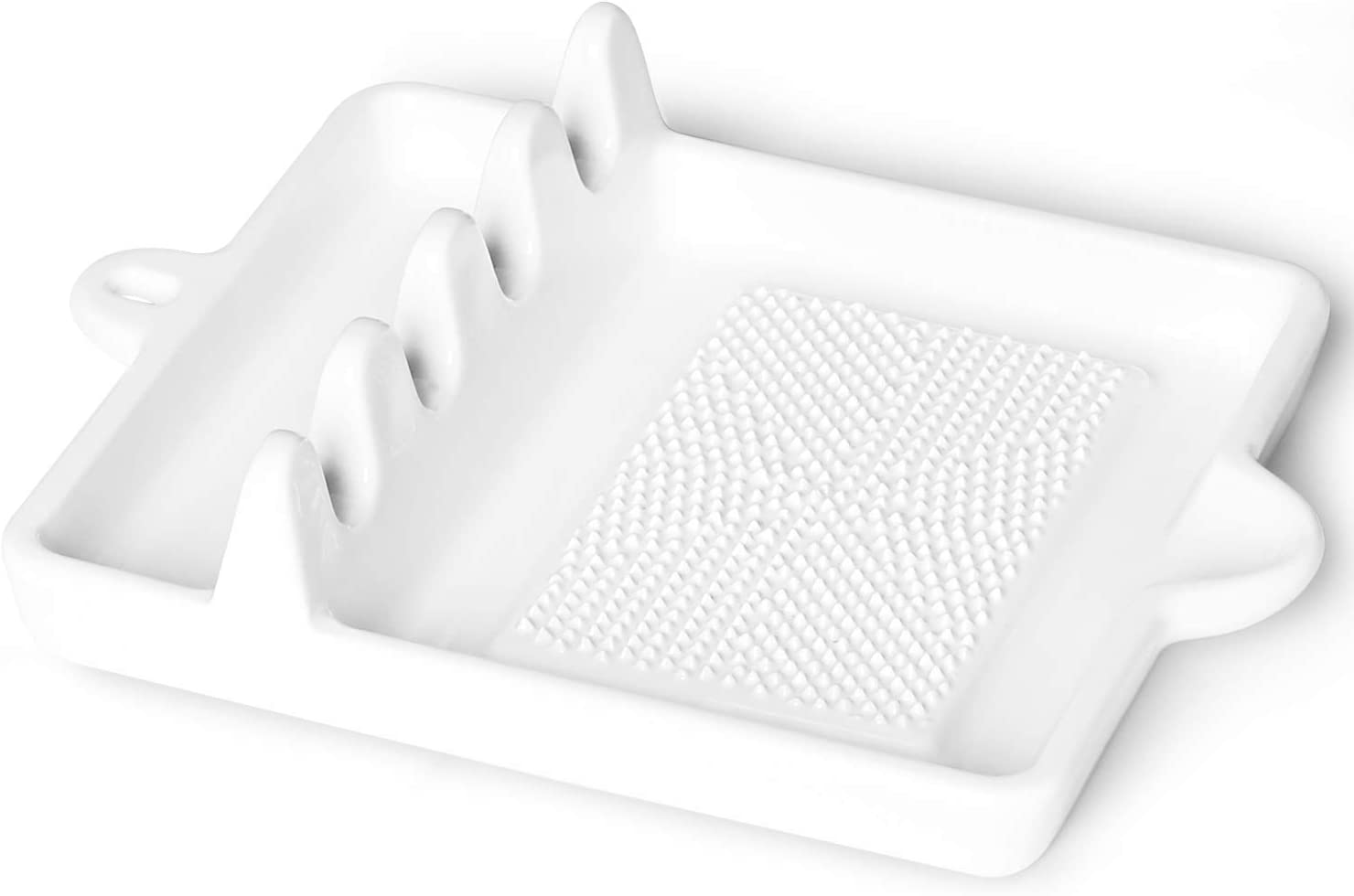 White Grater Plate for Kitchen Porcelain Spatula Rack with Lid Holder ONTUBE Multifunction Spoon Rests