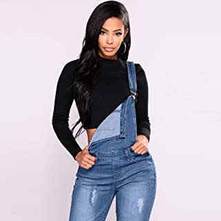 Festnight Denim Dungarees,Fashion Women Denim Overalls Ripped Stretch Dungarees High Waist Long Jeans Pencil Pants Rompers...