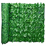 DZAY Decorative Fences Artificial Ivy Screening Leaf Hedge Panels On Roll Privacy Garden Fence,Water Wind Proof Green Plastic Artificial Leaf Garden Fence Wall Fence Adornment (0.5 * 3m,Apple Leaf)