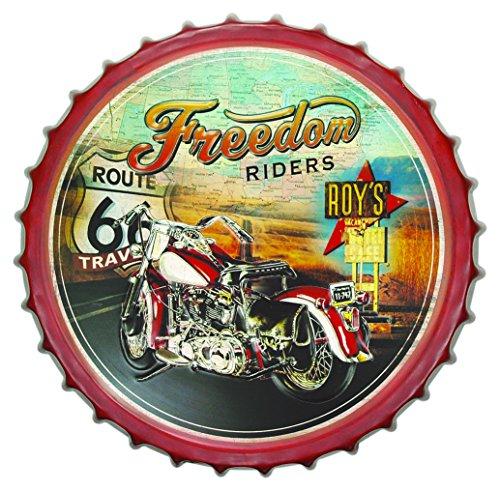 Zep Décor Mural en métal Jackson YY510, désign Capsule de canette Route 66 Motorbike, Marron/Noir/Blanc/Rouge