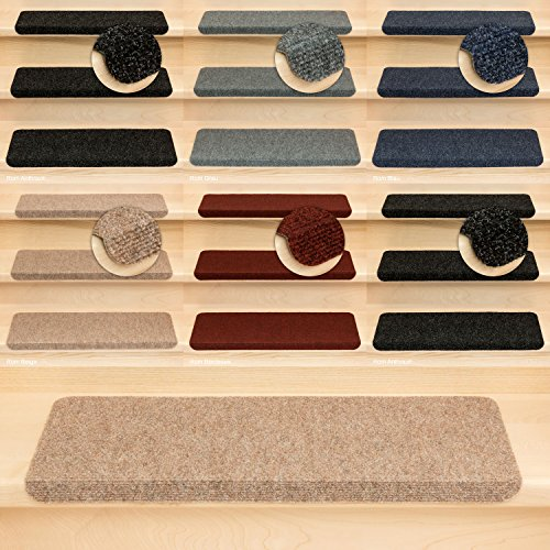 Kettelservice-Metzker Stufenmatten Treppenmatten Ramon Rechteckig - 5 Farben - 15 Stk. Beige incl. 1 Reinigungstuch