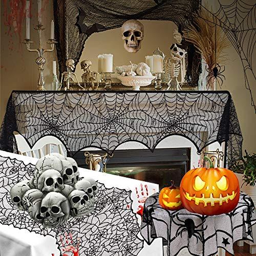 PERFETSELl 3 Pcs Manteles Halloween Decoracion Mesa Halloween Set Chimenea Tela Decoración Mantel Gótico de Encaje Camino de Mesa de Halloween Tela de Araña de Encaje Negro para Chimeneas/Mesa/Ventana